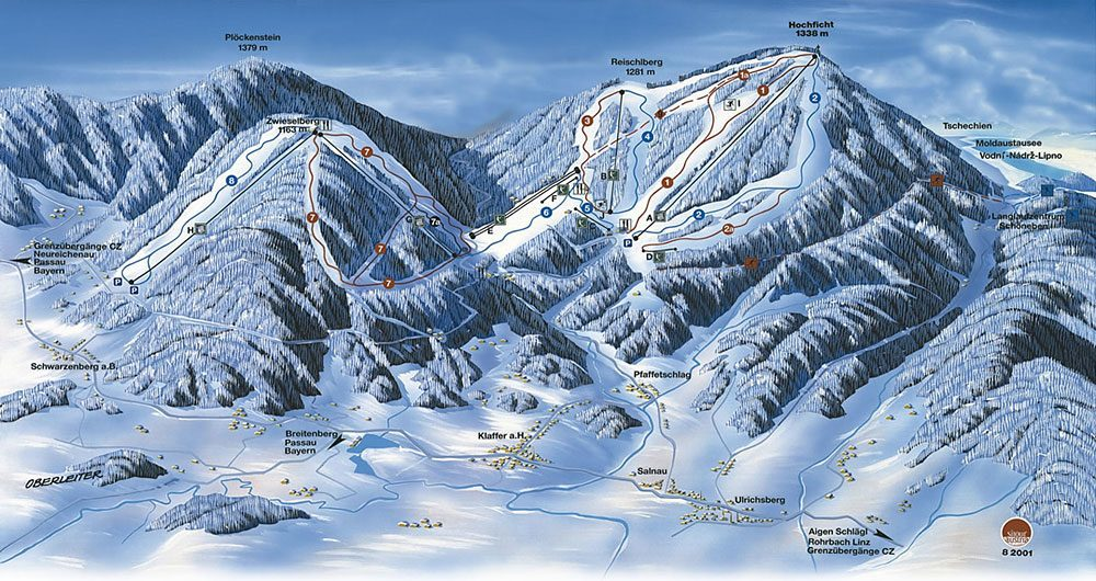Ski area Hochficht map