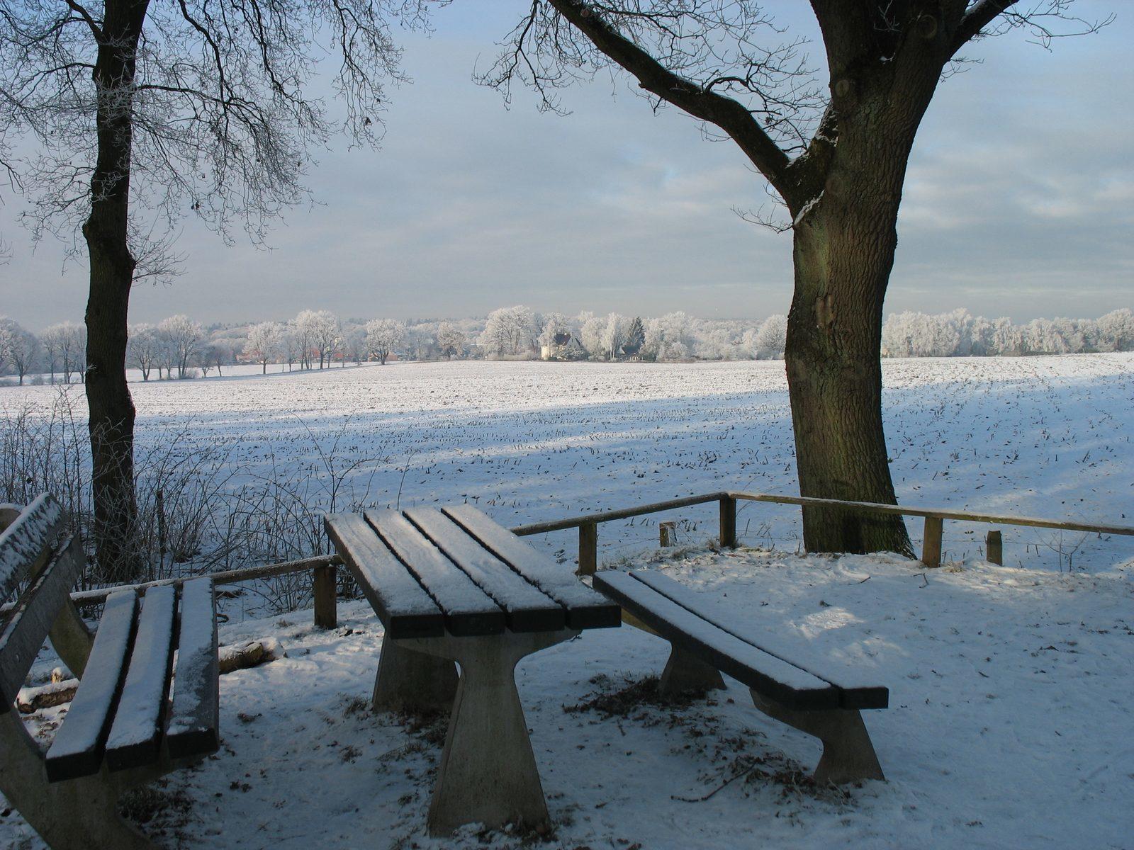 Uitzicht op Holten met sneeuw