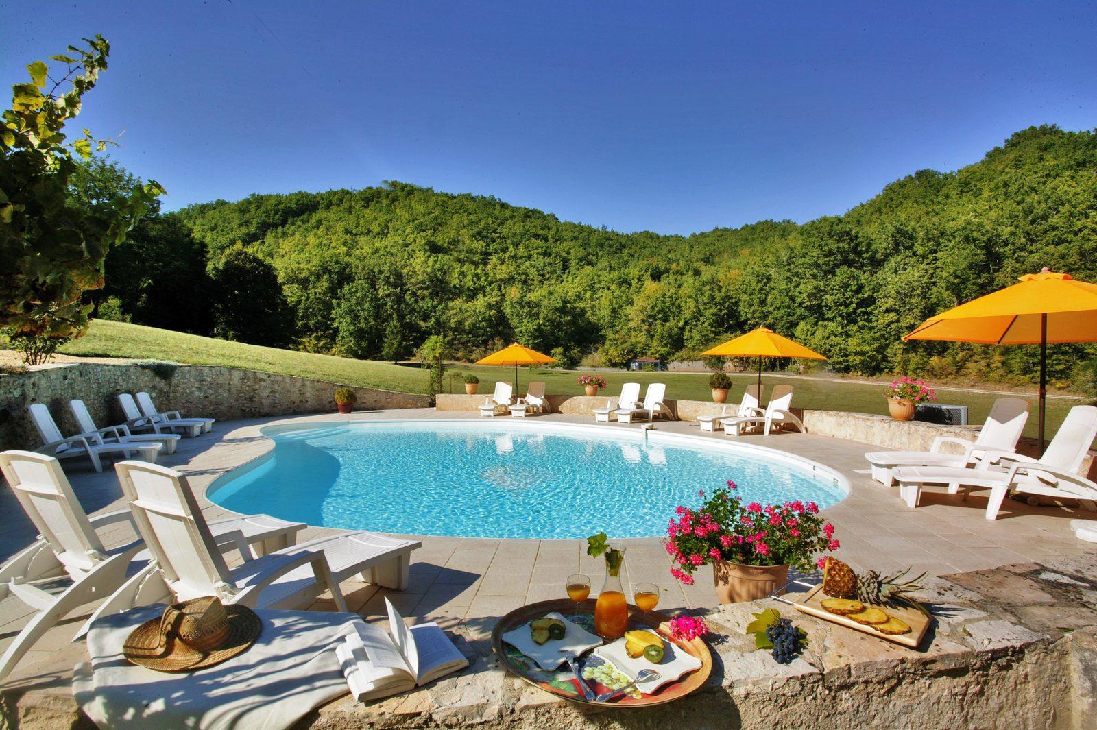 Vakantie, Frankrijk, zwembad, verwarmd, Dordogne, kleinschalig, vakantiehuis, huren