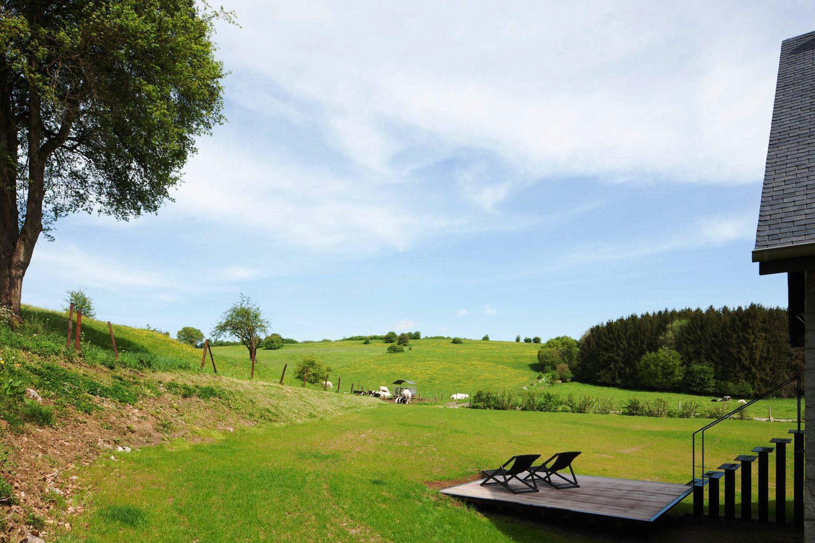 Belgie, Ardennen, Bioul, Station, la Micheline, luxe vakantiehuis, groepen, houtoven, design