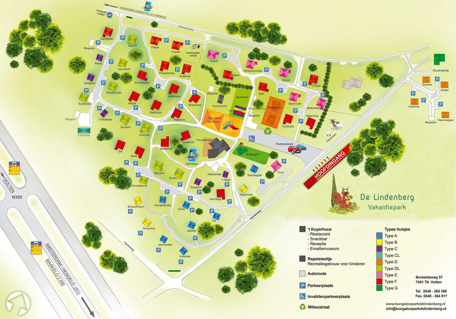 Plattegrond Vakantiepark De Lindenberg