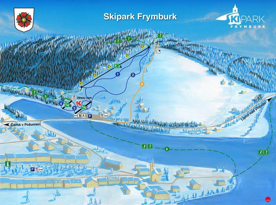 Ski park Frymburk map