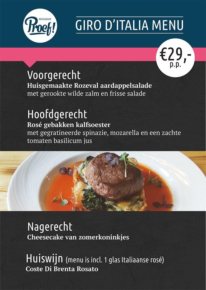 Giro D'Italia menu bij Proef! in Voorthuizen
