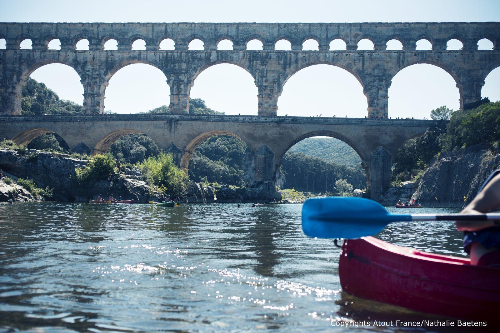 Frankrijk, Gard, Pont du Gard, kanovaren, Languedoc Roussillon, vakantie
