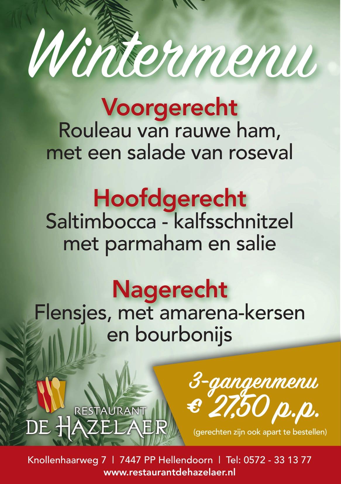 Wintermenu bij restaurant De Hazelaer
