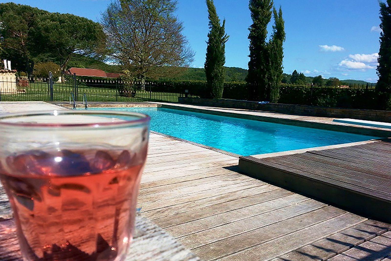 zwemmen bij château Prayssac in de Dordogne