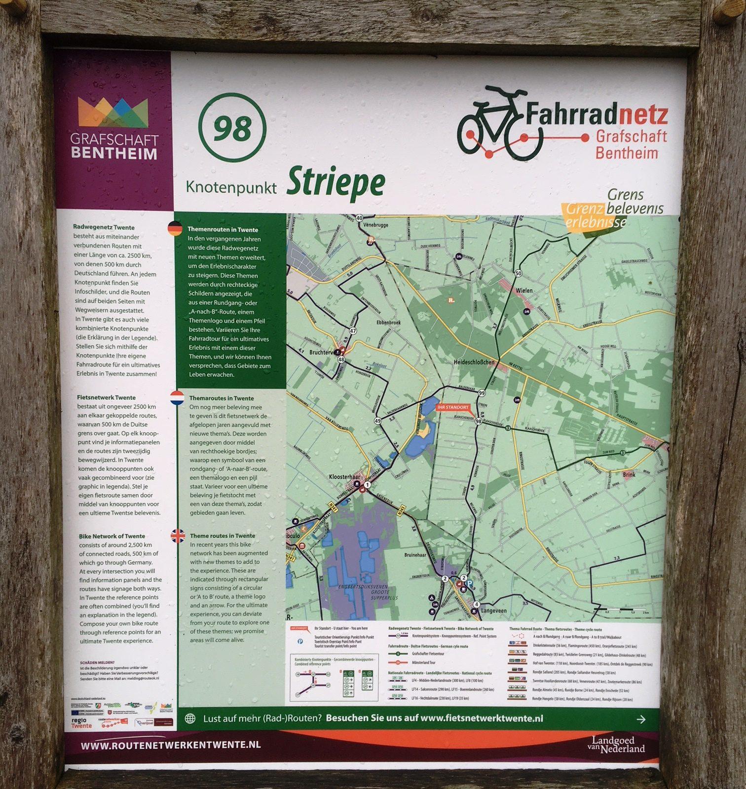 Wandelkaart in Wielen, Nedersaksen in Duitsland
