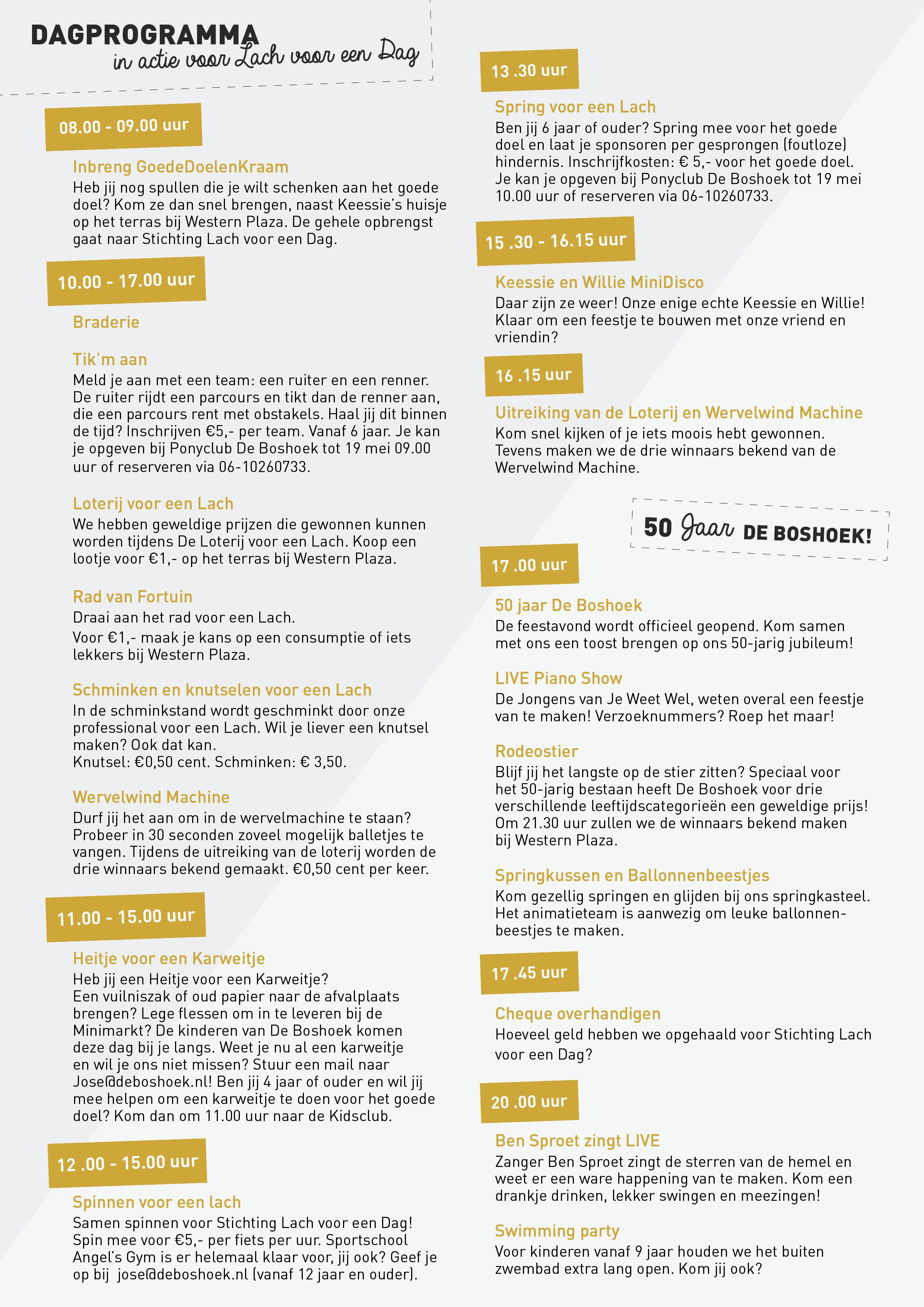 50 jaar activiteiten 50 jaar Boshoek en Goede Doelen Dag   Boshoek 50 jaar activiteiten