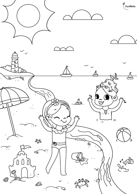 EuroParcs Animation Beau and Bloem coloring picture beach