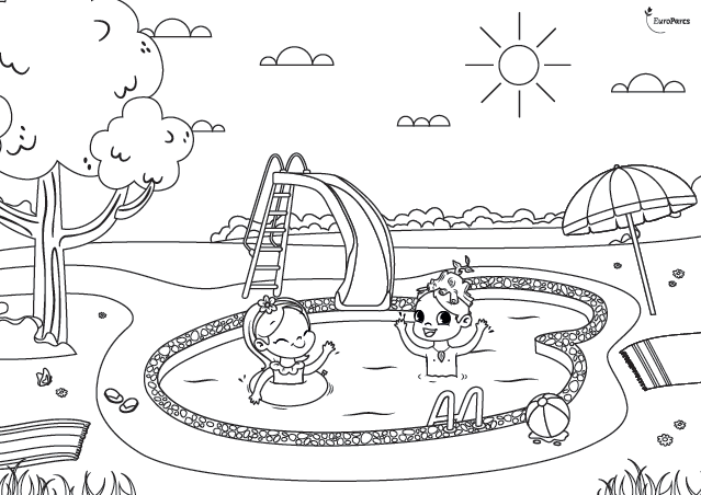 EuroParcs entertainment Beau and Bloem coloring picture swimming pool