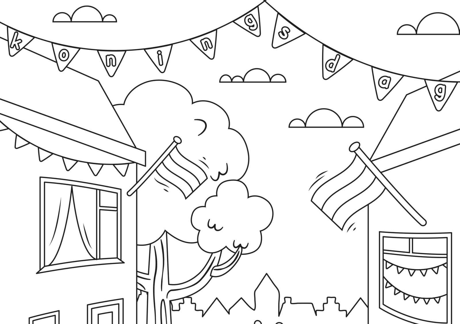EuroParcs coloring pictures King's Day
