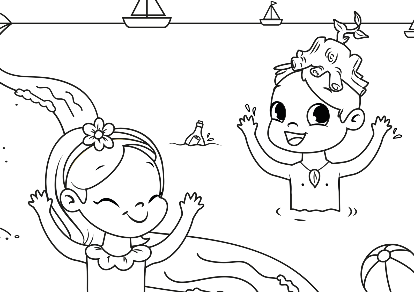 EuroParcs coloring pictures beach