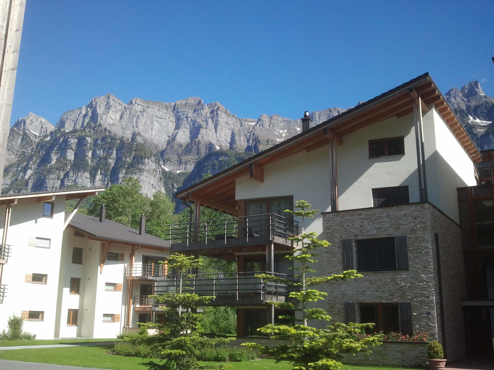 Apartments on Resort Walensee Heidiland Flumserberg Switzerland with view over the Churfirsten, during the May holiday