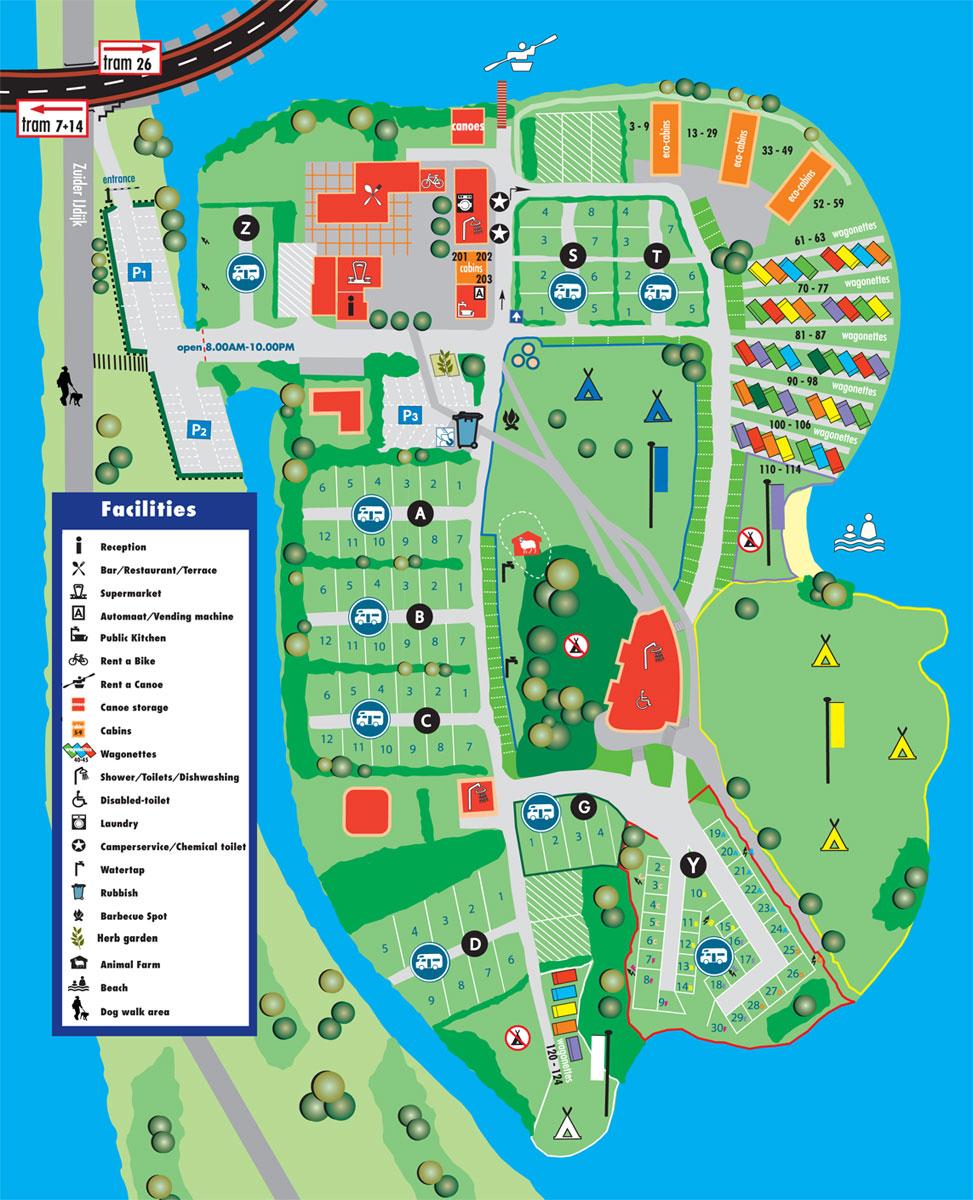 Lageplan des Campings - Wohnmobil-/Wohnwagenplätze - Zelten ...