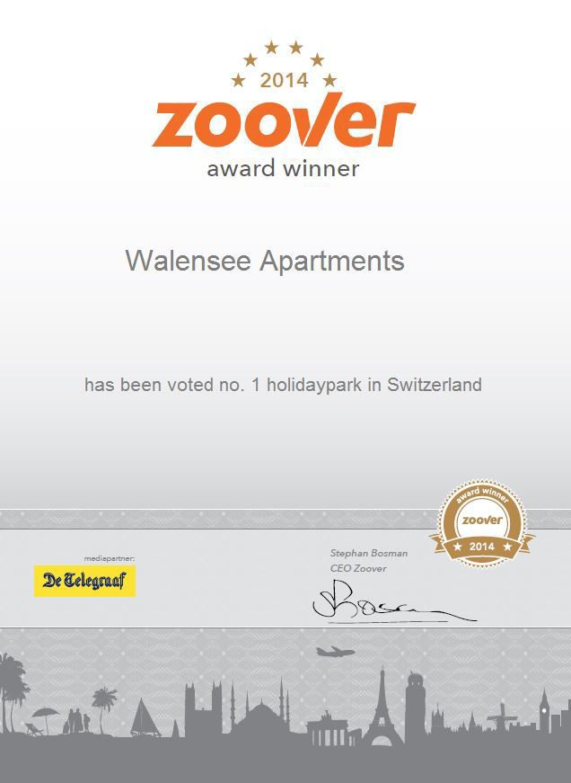 Walensee Apartments wins Zoover Award 2014 for Resort Walensee