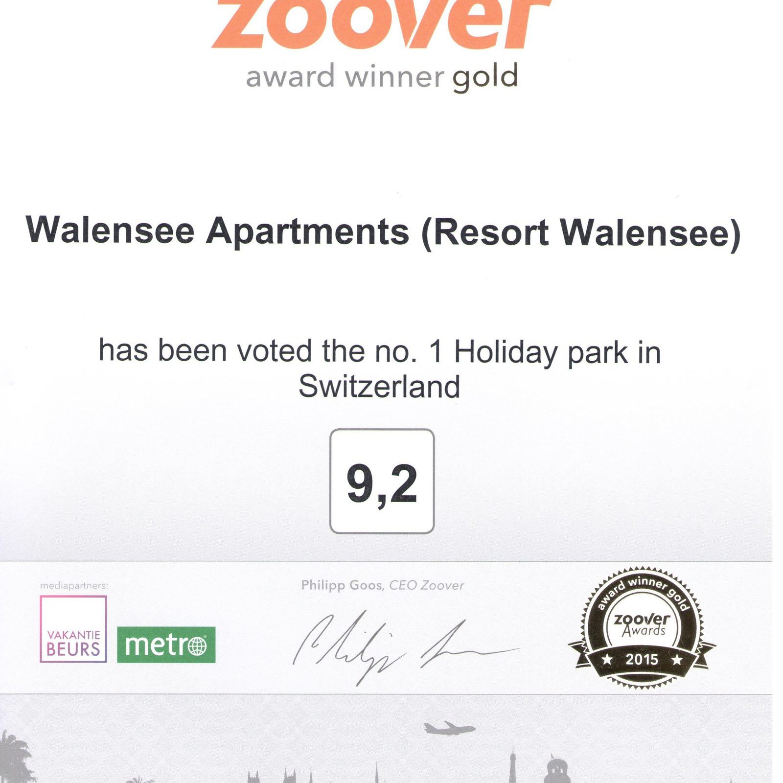 Walensee Apartments wins Zoover award 2015 for Resort Walensee Switzerland